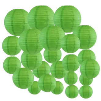 Decorative Round Chinese Paper Lanterns 24pcs Assorted Sizes (Color: Green) - Premier