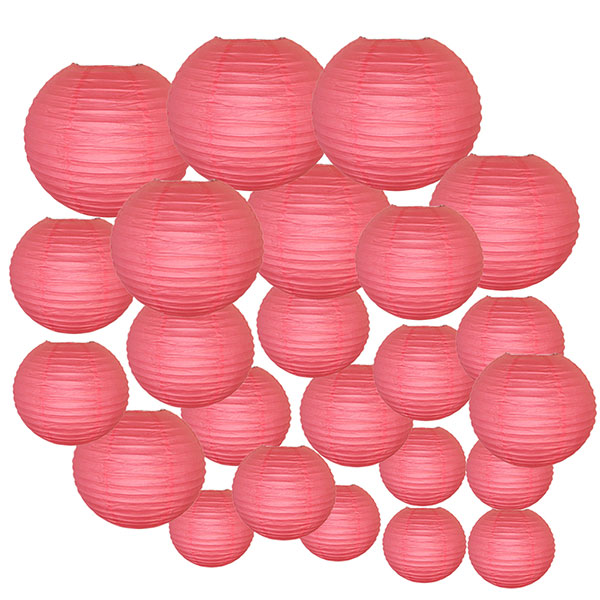Decorative Round Chinese Paper Lanterns 24pcs Assorted Sizes (Color: Hot Pink)