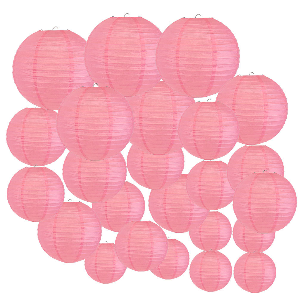Decorative Round Chinese Paper Lanterns 24pcs Assorted Sizes (Color: Hot Pink) - Premier