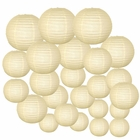 Decorative Round Chinese Paper Lanterns 24pcs Assorted Sizes (Color: Ivory)