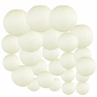Decorative Round Chinese Paper Lanterns 24pcs Assorted Sizes (Color: Ivory) - Premier