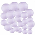 Decorative Round Chinese Paper Lanterns 24pcs Assorted Sizes (Color: Lavender)
