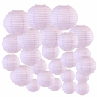 Decorative Round Chinese Paper Lanterns 24pcs Assorted Sizes (Color: Lavender) - Premier