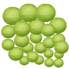 Decorative Round Chinese Paper Lanterns 24pcs Assorted Sizes (Color: Light Green)
