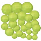 Decorative Round Chinese Paper Lanterns 24pcs Assorted Sizes (Color: Light Green) - Premier