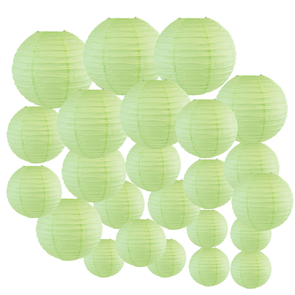 Decorative Round Chinese Paper Lanterns 24pcs Assorted Sizes (Color: Mint) - Premier