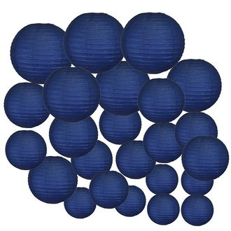 Decorative Round Chinese Paper Lanterns 24pcs Assorted Sizes (Color: Navy Blue)