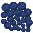 Decorative Round Chinese Paper Lanterns 24pcs Assorted Sizes (Color: Navy Blue) - Premier