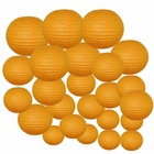 Decorative Round Chinese Paper Lanterns 24pcs Assorted Sizes (Color: Orange)