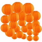 Decorative Round Chinese Paper Lanterns 24pcs Assorted Sizes (Color: Orange) - Premier