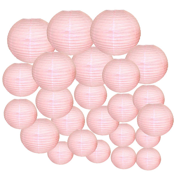 Decorative Round Chinese Paper Lanterns 24pcs Assorted Sizes (Color: Pale Pink)