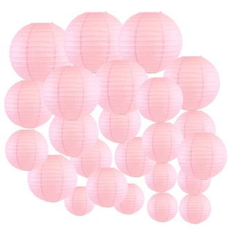Decorative Round Chinese Paper Lanterns 24pcs Assorted Sizes (Color: Pale Pink) - Premier