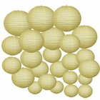 Decorative Round Chinese Paper Lanterns 24pcs Assorted Sizes (Color: Pale Yellow)