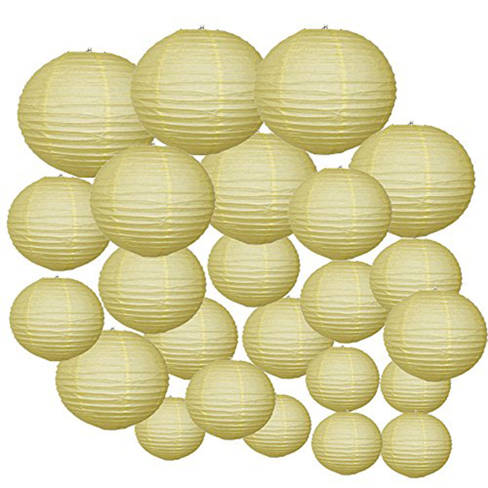 Decorative Round Chinese Paper Lanterns 24pcs Assorted Sizes (Color: Pale Yellow) - Premier
