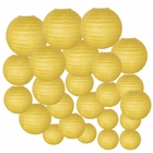 Decorative Round Chinese Paper Lanterns 24pcs Assorted Sizes (Color: Pineapple Yellow)