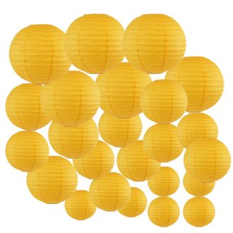 Decorative Round Chinese Paper Lanterns 24pcs Assorted Sizes (Color: Pineapple Yellow) - Premier
