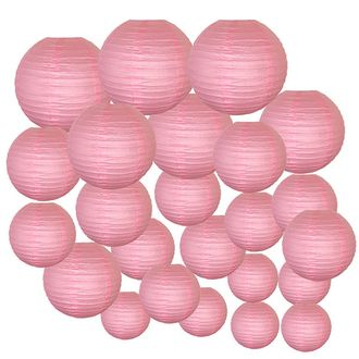 Decorative Round Chinese Paper Lanterns 24pcs Assorted Sizes (Color: Pink)