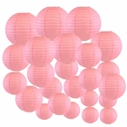 Decorative Round Chinese Paper Lanterns 24pcs Assorted Sizes (Color: Pink) - Premier