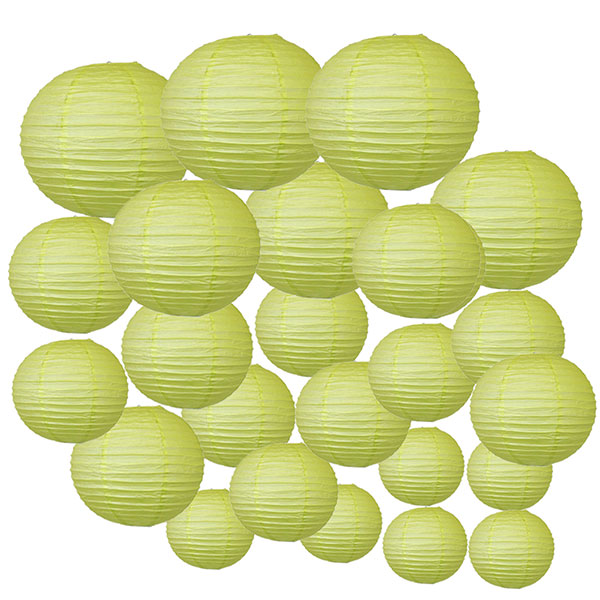 Decorative Round Chinese Paper Lanterns 24pcs Assorted Sizes (Color: Pistachio Green)