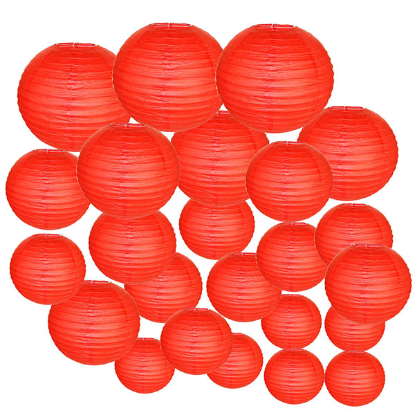 Decorative Round Chinese Paper Lanterns 24pcs Assorted Sizes (Color: Red)
