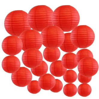 Decorative Round Chinese Paper Lanterns 24pcs Assorted Sizes (Color: Red) - Premier