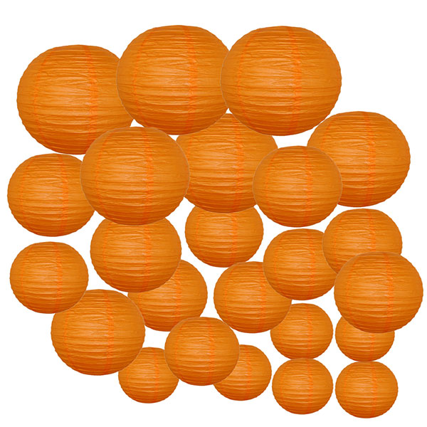Decorative Round Chinese Paper Lanterns 24pcs Assorted Sizes (Color: Red Orange)