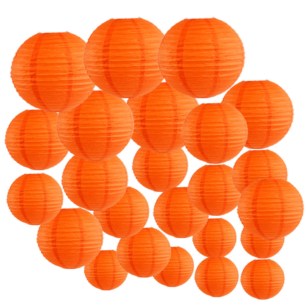 Decorative Round Chinese Paper Lanterns 24pcs Assorted Sizes (Color: Red Orange) - Premier