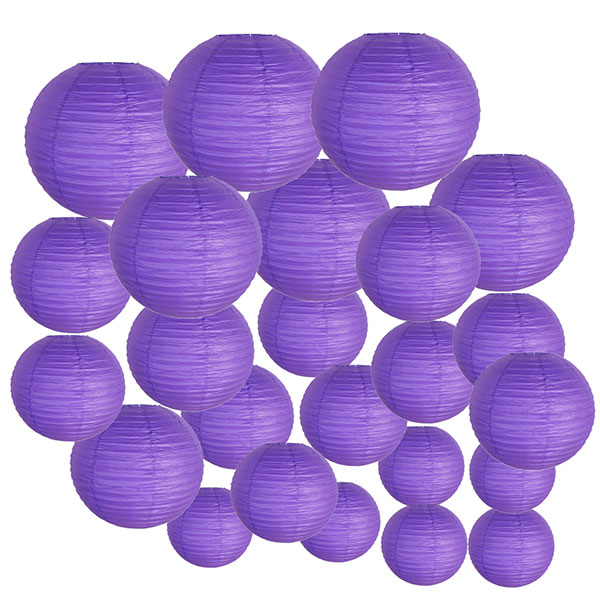 Decorative Round Chinese Paper Lanterns 24pcs Assorted Sizes (Color: Royal Purple)