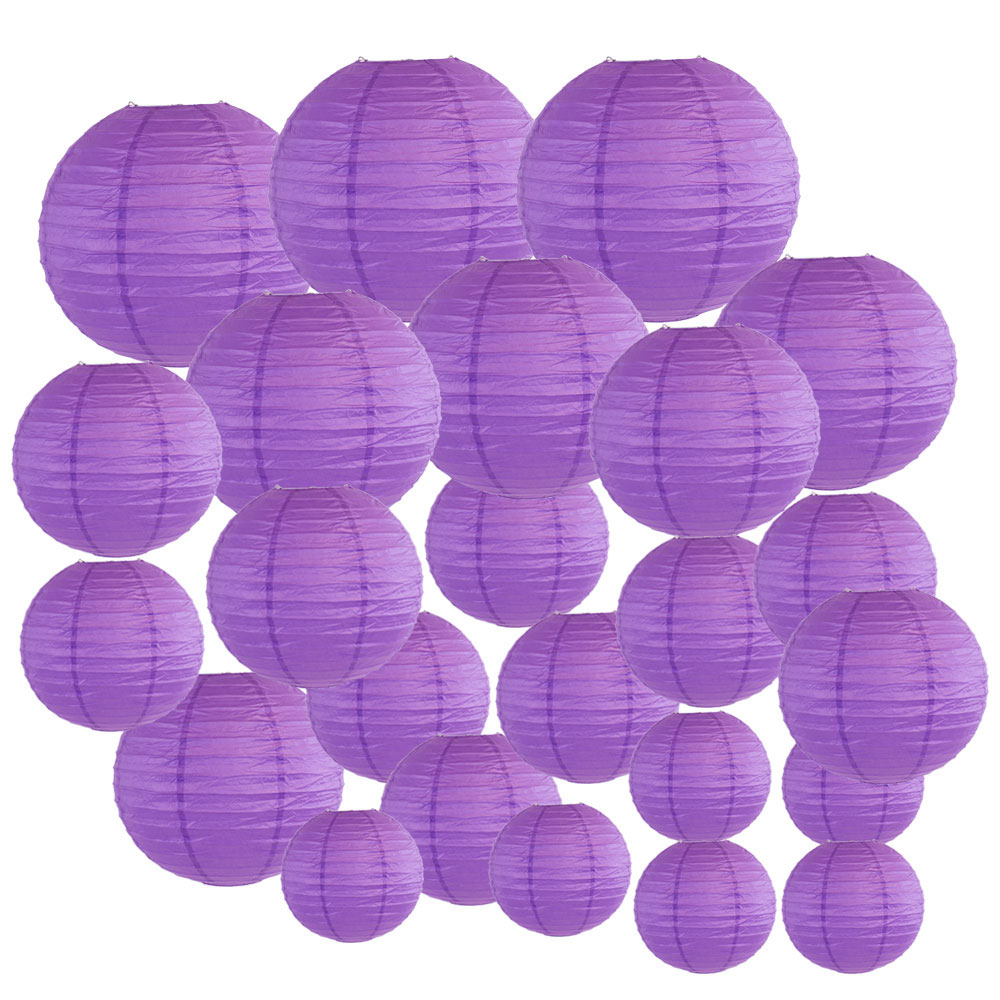 Decorative Round Chinese Paper Lanterns 24pcs Assorted Sizes (Color: Royal Purple) - Premier
