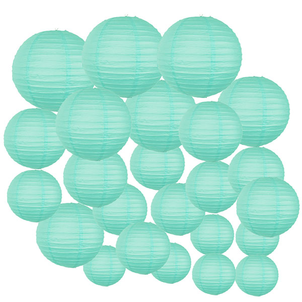 Decorative Round Chinese Paper Lanterns 24pcs Assorted Sizes (Color: Seafoam)