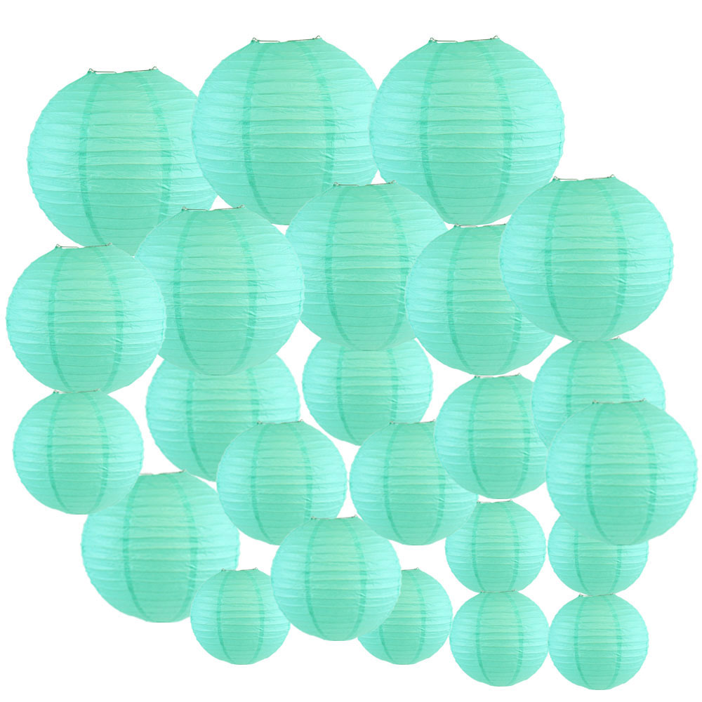 Decorative Round Chinese Paper Lanterns 24pcs Assorted Sizes (Color: Seafoam) - Premier