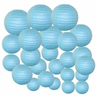 Decorative Round Chinese Paper Lanterns 24pcs Assorted Sizes (Color: Sky Blue)