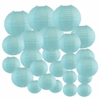 Decorative Round Chinese Paper Lanterns 24pcs Assorted Sizes (Color: Sky Blue) - Premier