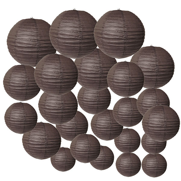 Decorative Round Chinese Paper Lanterns 24pcs Assorted Sizes (Color: Slate Brown)