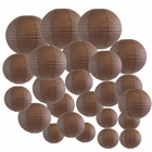 Decorative Round Chinese Paper Lanterns 24pcs Assorted Sizes (Color: Slate Brown) - Premier