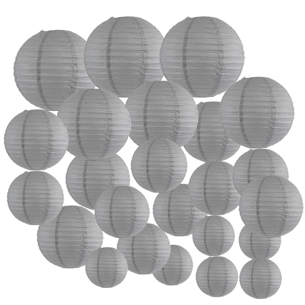 Decorative Round Chinese Paper Lanterns 24pcs Assorted Sizes (Color: Slate Gray) - Premier