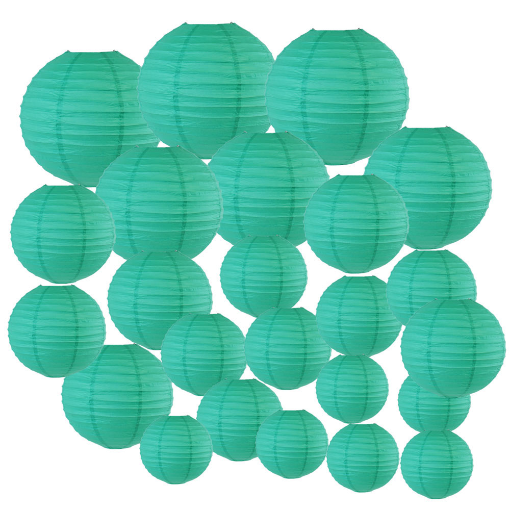 Decorative Round Chinese Paper Lanterns 24pcs Assorted Sizes (Color: Teal Blue Green) - Premier
