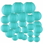 Decorative Round Chinese Paper Lanterns 24pcs Assorted Sizes (Color: Turquoise)