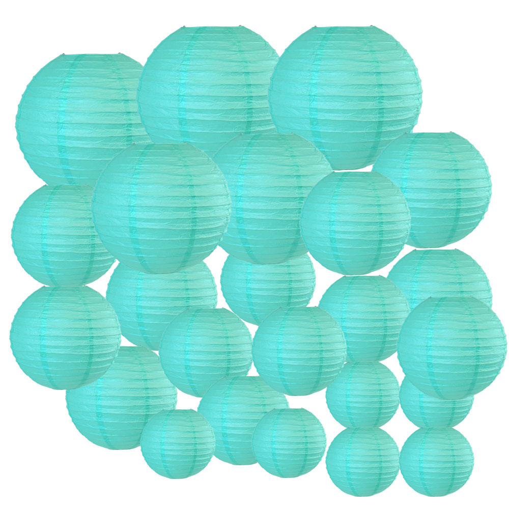 Decorative Round Chinese Paper Lanterns 24pcs Assorted Sizes (Color: Turquoise) - Premier