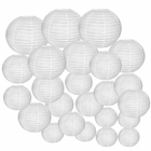 Decorative Round Chinese Paper Lanterns 24pcs Assorted Sizes (Color: White)
