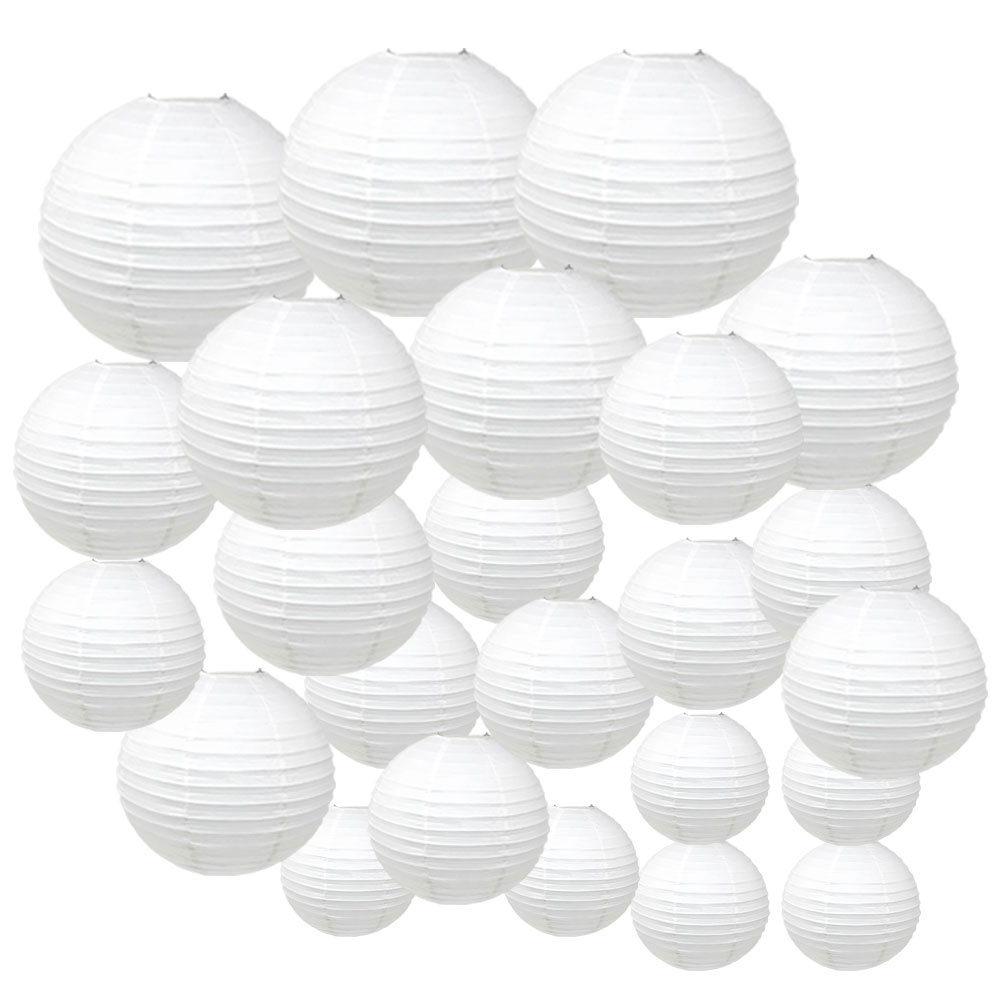Decorative Round Chinese Paper Lanterns 24pcs Assorted Sizes (Color: White) - Premier