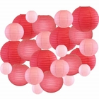 Decorative Round Chinese Paper Lanterns 24pcs Assorted Sizes & Colors (Color: Pinks) - Premier