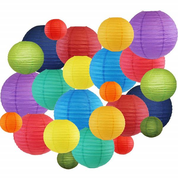 Decorative Round Chinese Paper Lanterns 24pcs Assorted Sizes & Colors (Color: Rainbow) - Premier