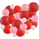 Decorative Round Chinese Paper Lanterns 24pcs Assorted Sizes & Colors (Color: Reds) - Premier