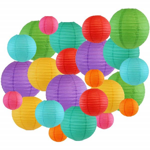 Decorative Round Chinese Paper Lanterns 24pcs Assorted Sizes & Colors (Color: Tropical 2) - Premier