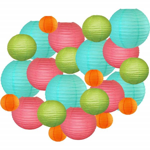 Decorative Round Chinese Paper Lanterns 24pcs Assorted Sizes & Colors (Color: Tropical) - Premier