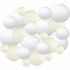Decorative Round Chinese Paper Lanterns 24pcs Assorted Sizes & Colors (Color: White & Ivory) - Premier