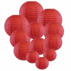 Decorative Round Chinese Paper Lanterns Assorted Sizes (12pcs, Dark Red) - Premier