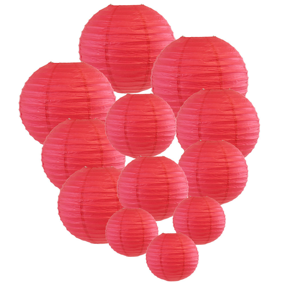 Decorative Round Chinese Paper Lanterns Assorted Sizes (12pcs, Flamingo Pink) - Premier