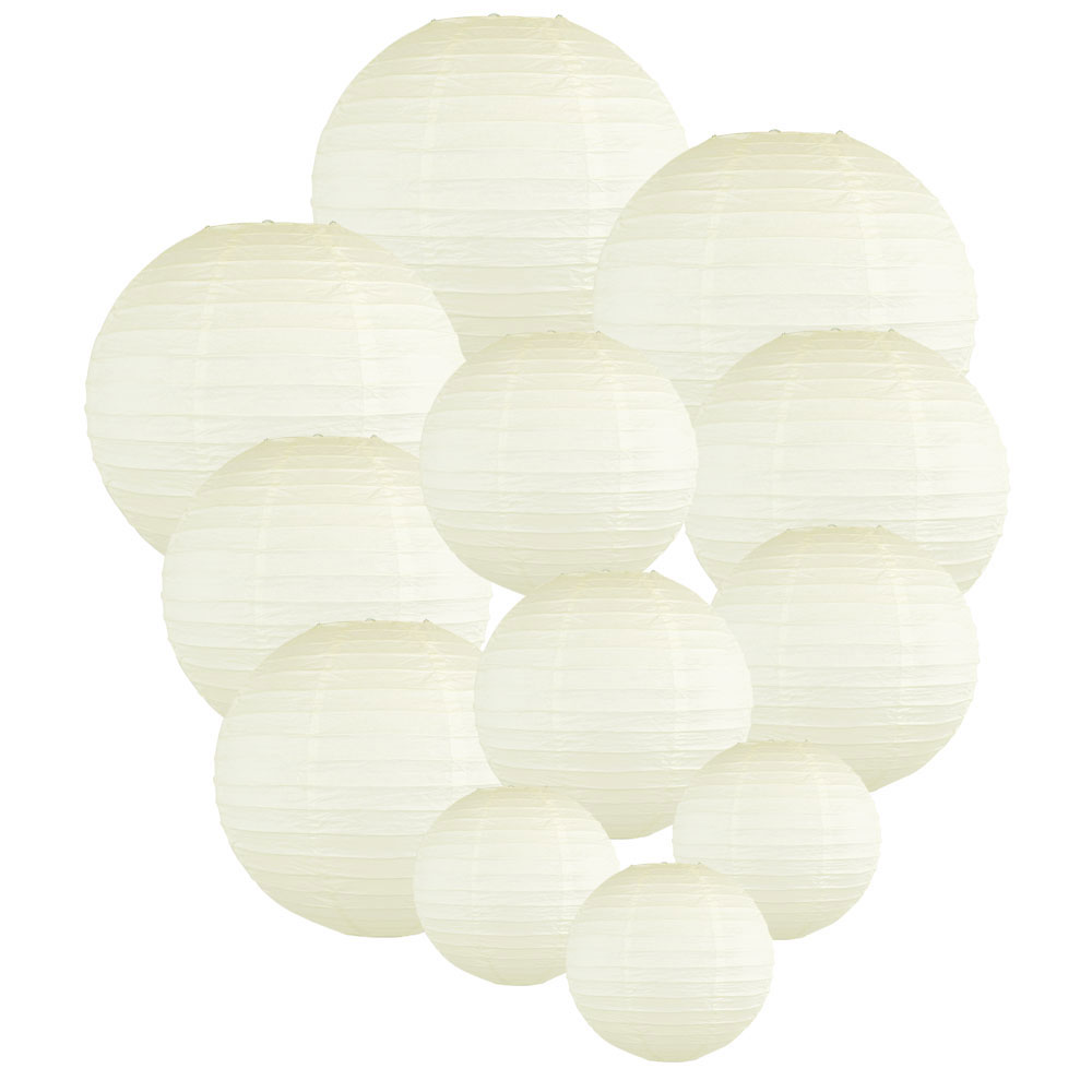Decorative Round Chinese Paper Lanterns Assorted Sizes (12pcs, Ivory) - Premier